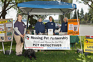 Information booth for Missing Pet Partnership pet detectives