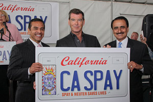 Pierce Brosnan and two other men showing design of California license plate that supports low-cost spaying and neutering