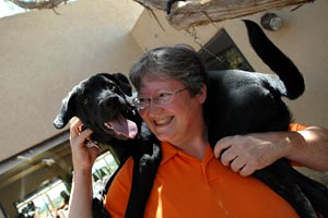Dog trainer Karen with a search and rescue canine candidate dog