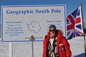 Dr. Julie Palais at the South Pole in Antarctica