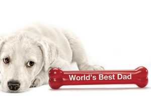 "Dog lying down and looking at a red bone that says ""World's Best Dad"""