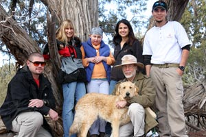 The Make-a-Wish Foundation granted Jenny's wish of visiting Best Friends Animal Sanctuary. Here, Jenny is pictured with staff and a dog.