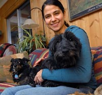 Willa the Scottish terrier rescued from a puppy mill in her foster home with Michelle and another dog