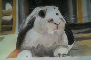 Rabbit portrait artist Courtney Link from Hong Kong painted