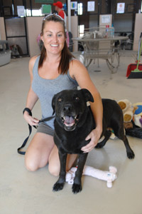 Jude the dog with his caregiver Liz