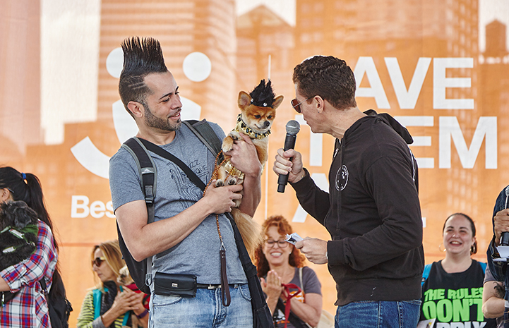 Person and dog wearing mohawk hairdos at Strut Your Mutt