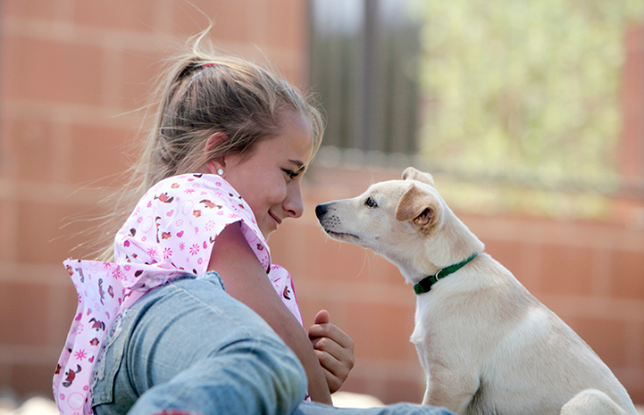 Best Friends Day 2016: Thebes the dog with a young girl