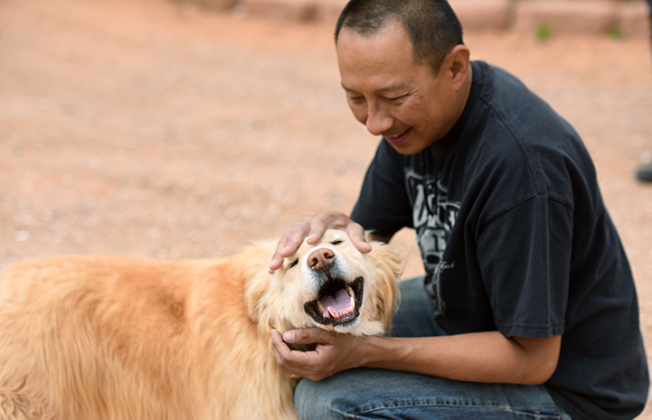 Dogtown caregivers started from the ground up to earn Bodin the dog's trust and to form a bond with the golden retriever mix