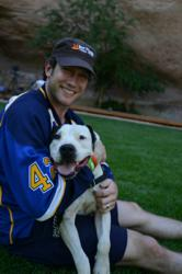 David Backes with Vince the dog at Best Friends Animal Sanctuary