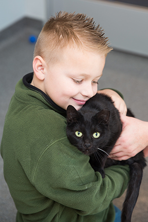 Sugar Plum the cat, now named Cleo, is Landon's BFF