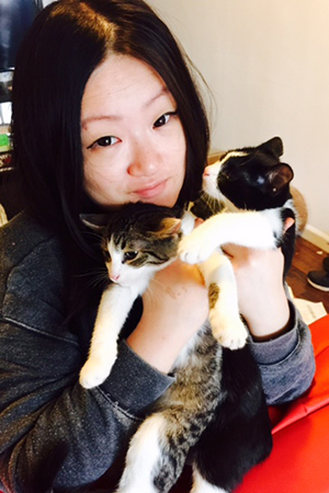 Mary Wang with foster kittens