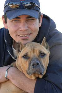 Georgia the former Michael Vick dog with John Garcia