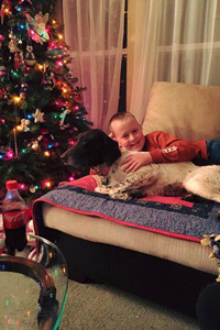 Maggie the purebred German shorthaired pointer fits right in with her new adoptive family. Here she is snuggling with a boy by the Christmas tree.
