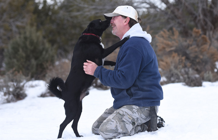 Julius the dog with a neurological condition taking a walk with caregiver Tom