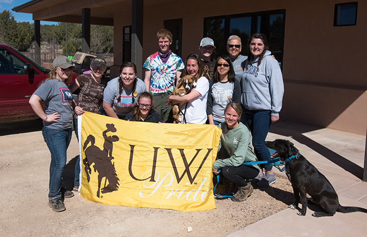 The University of Wyoming college group at Best Friends