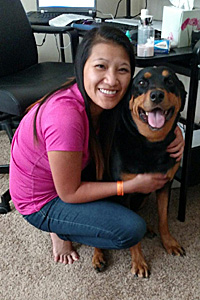Kyra the Rottweiler with Kim Cao