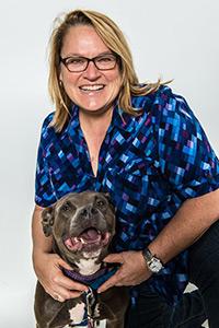 Tawny Hammond and pit bull dog