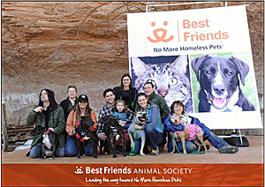 Vicktory dog reunion at Best Friends Animal Sanctuary