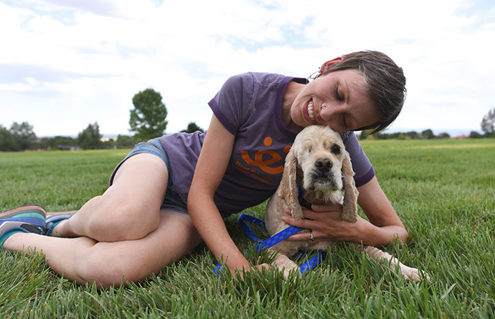Stephanie Peters is training spaniel mix Butterscotch to be a therapy dog