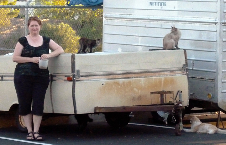 Volunteer Cheryl Collins with a community cat colony