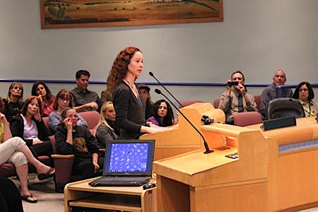 Elizabeth Oreck addressing a legislative group in California
