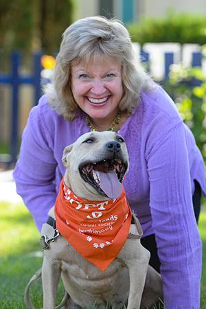 Best Friends' senior legislative attorney, Ledy Vankavage, with Joy the dog