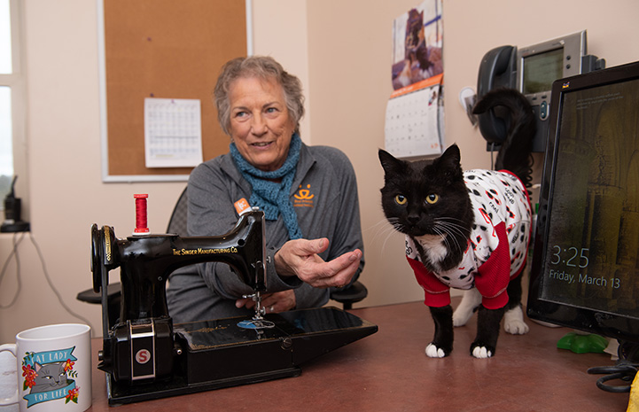 Gloria sitting next to a sewing machine behind Hero the cat wearing a red, black and white outfit