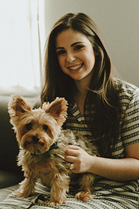 Andrea Grane, Best Friends Planned Giving Officer for the Northeast region, with a dog