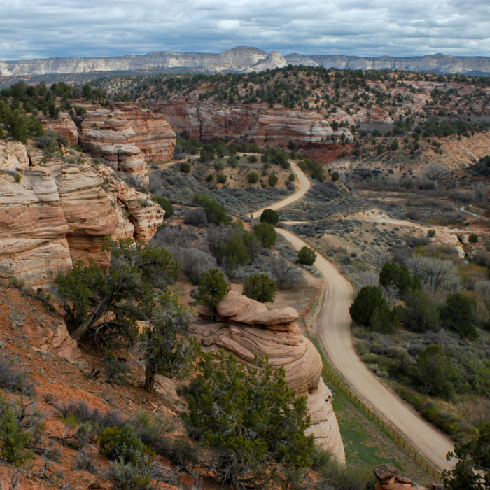 Aerial shot of Angel Canyon in Kanab UT