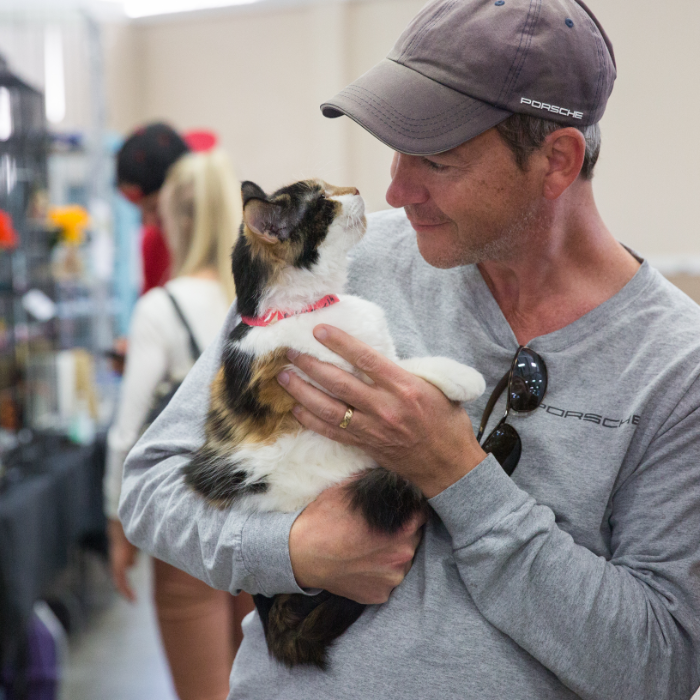 Man at super adoption event holding cat