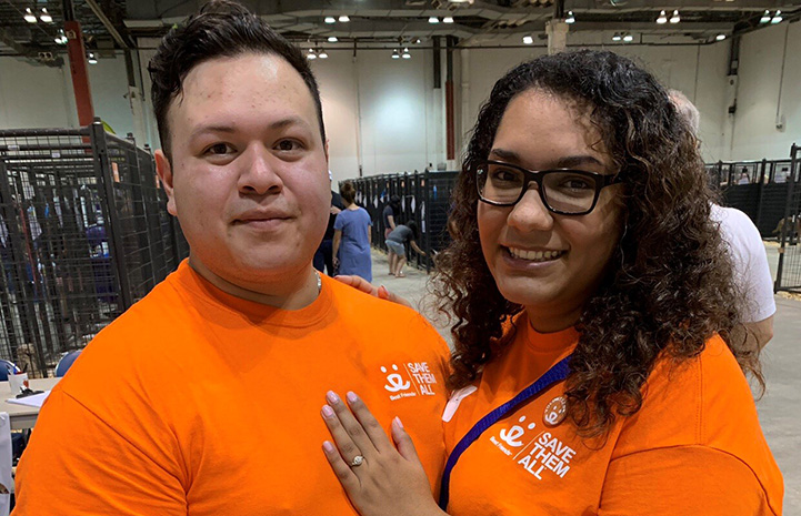 Eddie Macias with Arianna Tijerina after he had proposed to her at the Super Adoption in Houston