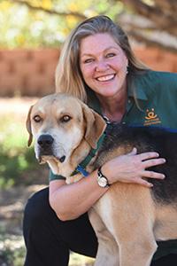 Beth Wolfer with a dog