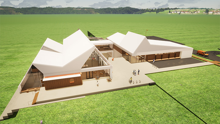 Rendering of the Best Friends Pet Resource Center in Northwest Arkansas from above