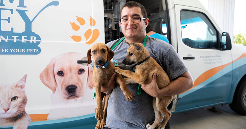 Man holding two puppies in front of a Palm Valley Animal Society van