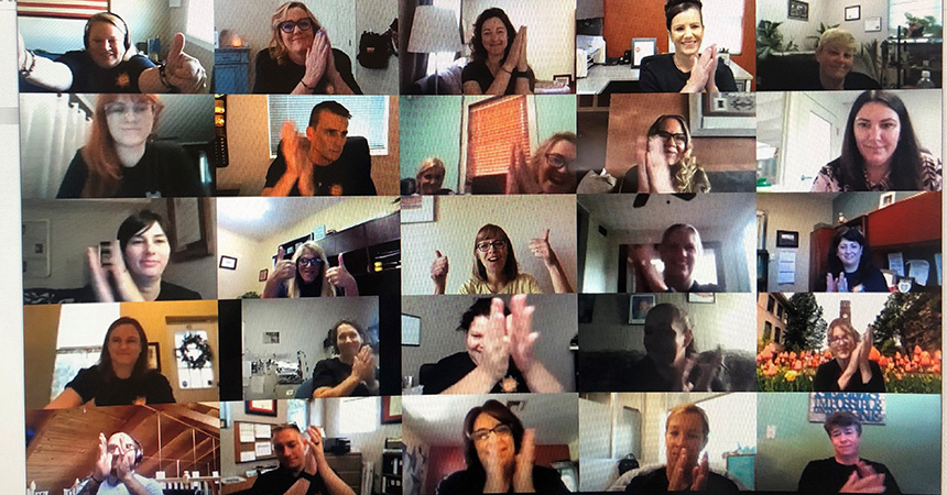 Screen shot of Zoom meeting with multiple people clapping