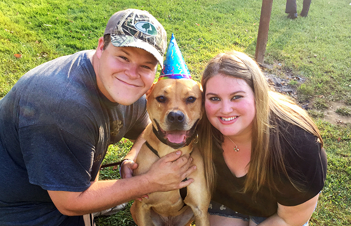 Today, Tyler the dog has his very own backyard, bucket of toys, and wonderful family