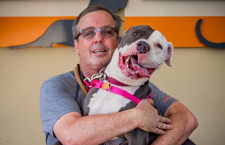 There were tears of happiness that day at the adoption center when Nina the dog was adopted