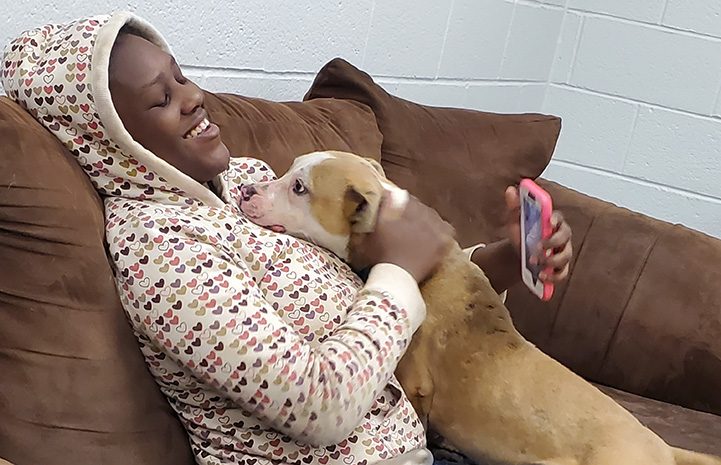 Woman sitting on a couch wearing a hoodie with a brown and white dog leaning up for some love