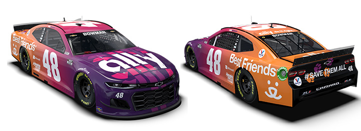 Front and back views of the NASCAR car featuring Ally and Best Friends on the wrap