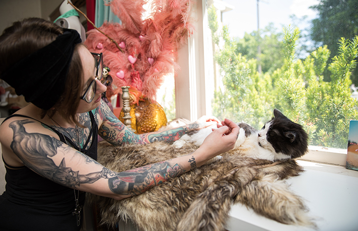 Michelle Lunn-Adams petting her adopted senior cat, Leroy Jenkins, who is lying on a blanket