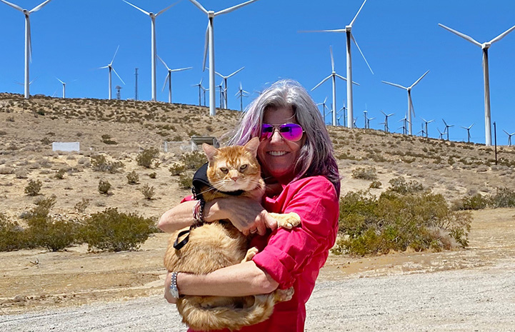 Woman holding Steak the orange tabby cat in front of some wind turbines