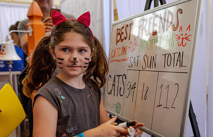 Young girl wearing cat ears updating adoption numbers at CatCon on a dry erase board