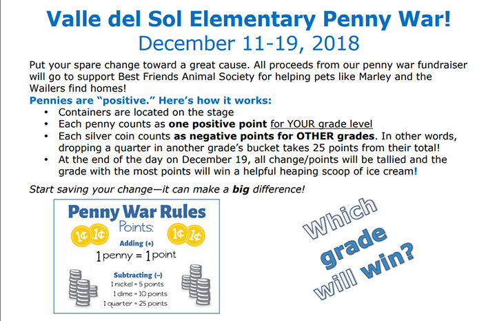 Flyer promoting the Valle del Sol Elementary Penny War