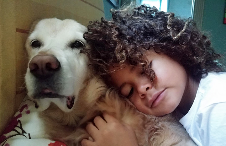 Young girl leaning into a senior Ava the dog