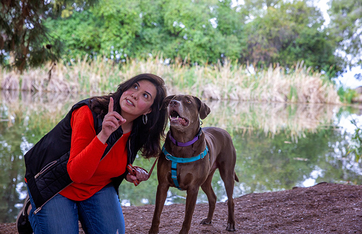 Trish Escobedo and Jarvis the dog looking up at something