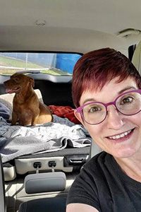 Kim driving Frannie the pregnant dog from Houston to Utah