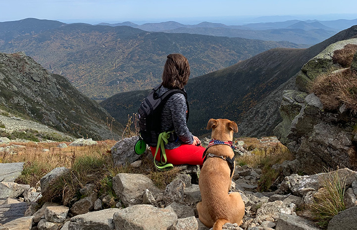 Marisa Patelli and Charger/Chance the dog looking out toward a valley while out on a hike