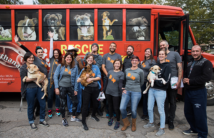 Group of people, some holding dogs, standing in front of the transport bus