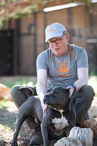 Volunteer Fred Rainey sitting next to Stitch, a black and white pit bull terrier type dog
