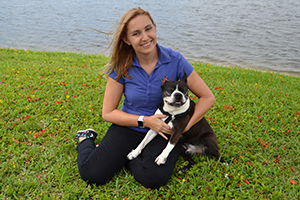 Elizabeth Reed, Best Friends Planned Giving Officer for the Southeastern region, with a dog
